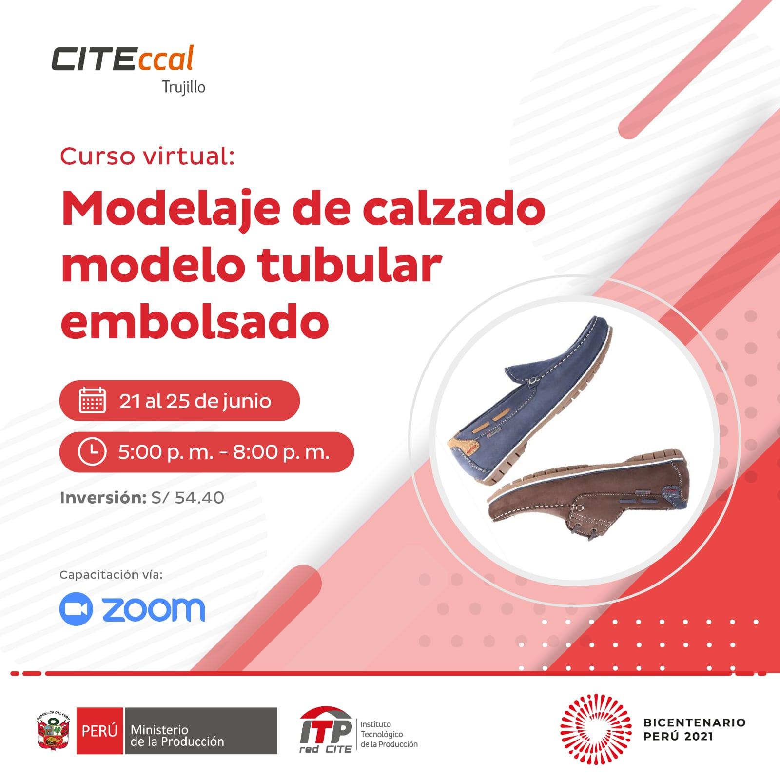 Modelaje de calzado modelo tubular embolsado